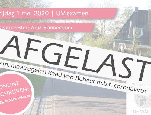 AFGELAST | Vrij. 1 mei 2020 | UV-examen met als keurmeester; Anja Boonemmer